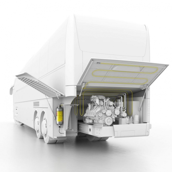 The FireDETEC automatic fire suppression system for bus engines has an innovative 12 liter cylinder.